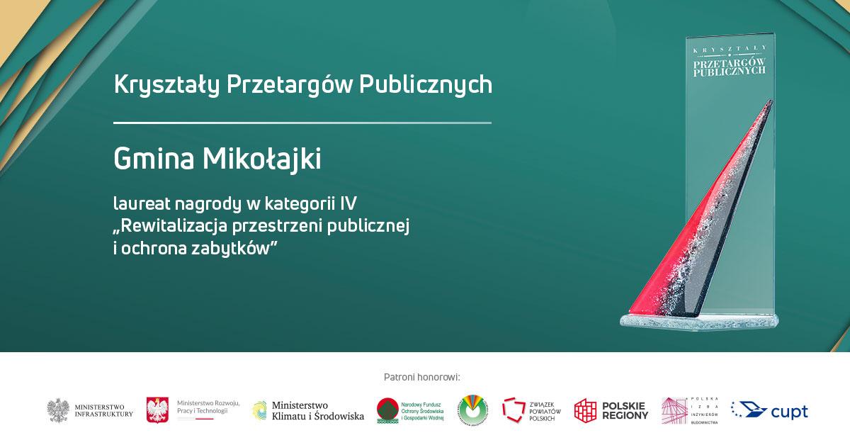 """Mikołajska promenada laureatem """"Kryształów Przetargów Publicznych"""""""